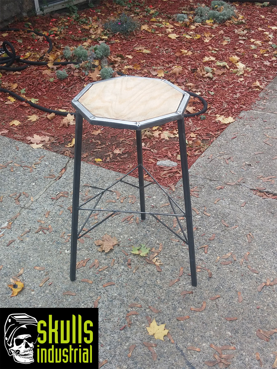 Shop Stool 30 X19 Skulls Industrial